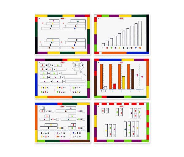 Tarjetas de plástico rígido impresas por ambos lados con actividades y juegos de secuencias, sumas y restas para realizar con las regletas. Conjunto de 6 tarjetas con ejercicios y un...