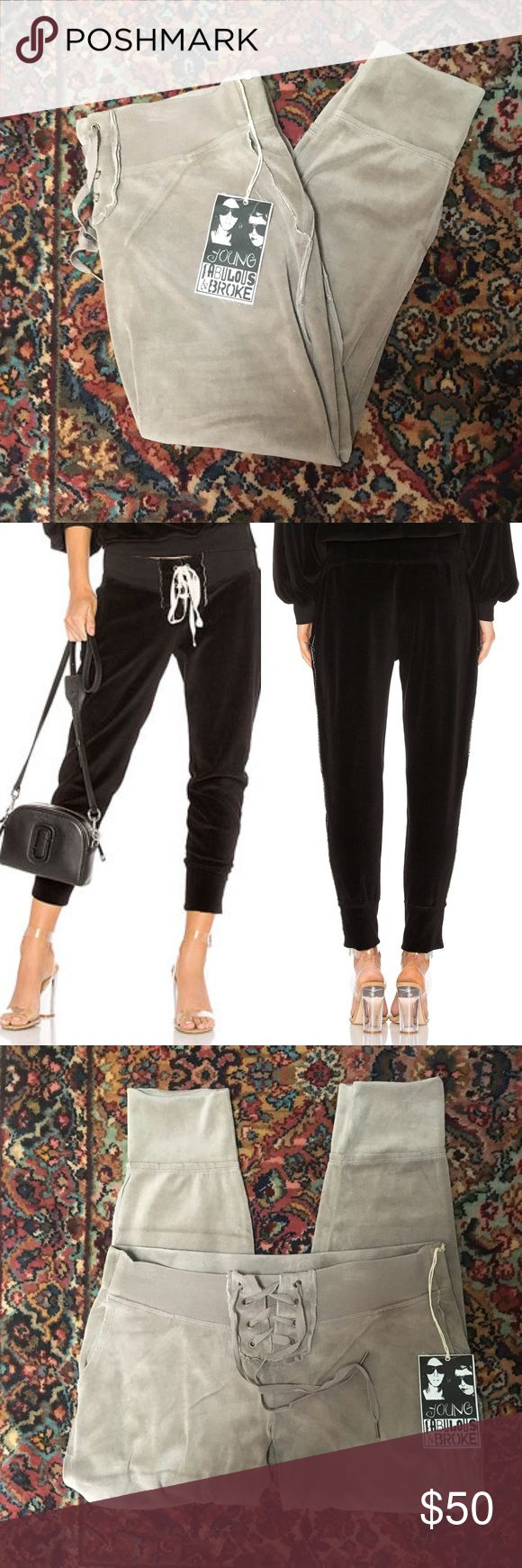 YFB Kelela Velour Joggers in Taupe Must have lace-up sweatpant with raw edge detailing and cuff at the ankle. Grommets at center front with a stretch rib waistband and adjustable draw cord.  (Last picture is to show fit and styling ideas.) Young Fabulous & Broke Pants Track Pants & Joggers