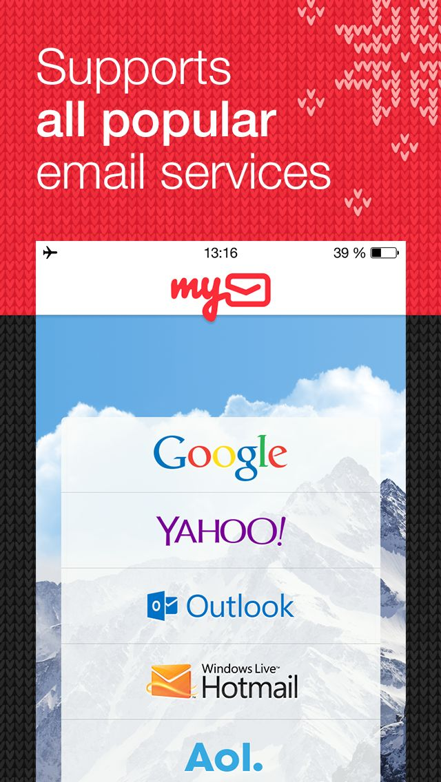 myMail Winter Screens for AppStore: English / My.com  Design by My.com team — http://www.behance.net/mycom.