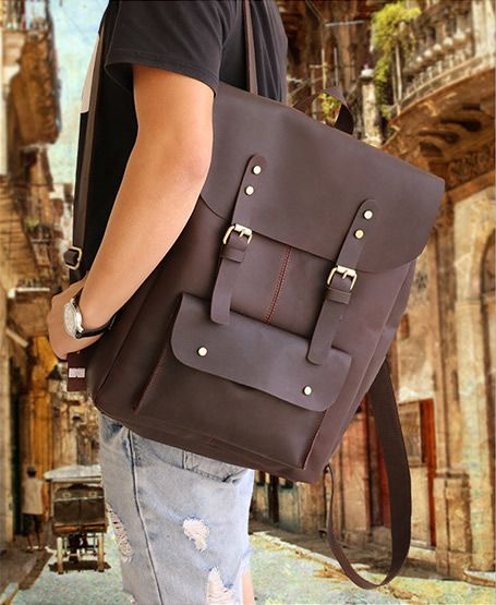 "Vintage Leather Backpack / Leather Satchel / Leather Travel Bag / Day Pack / Weekend Bag / 17"" MacBook 17"" Laptop Bag"
