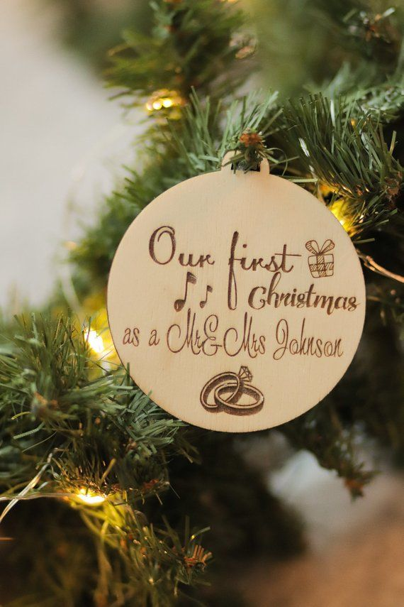 Custom Christmas Gifts.First Christmas Ornaments Personalized Newlywed Gift Just