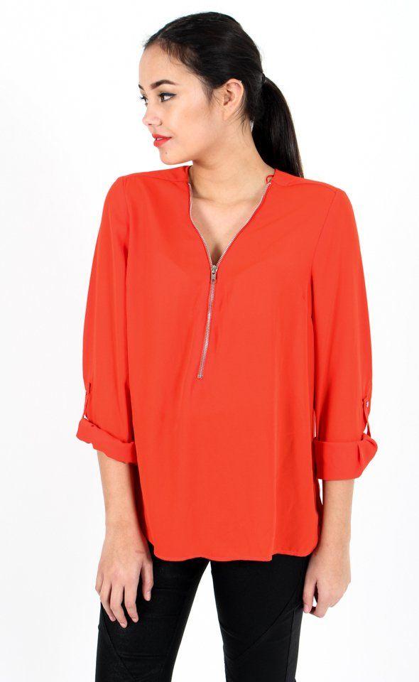 Roll Sleeve Zip Front Shirt Tangerine