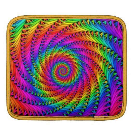 Rainbow Spiral iPad Sleeve by KittyBitty