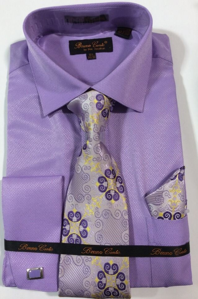 Details About Bruno Conte Dress Shirt Combo With Full Tie