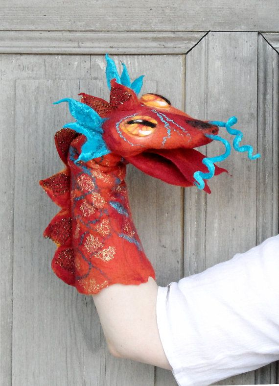 Hand puppet Red Dragon felted toy for children's by filcAlki