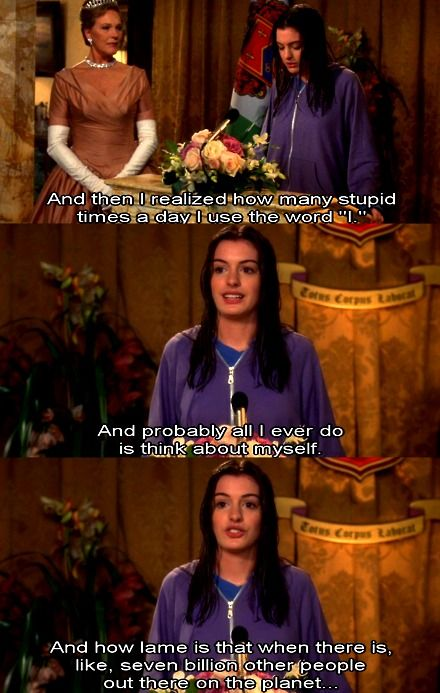 Princess Diaries -- How many times I use the word 'I'