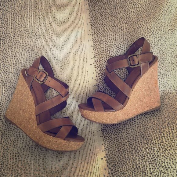 Aldo Wedge Sandals These tan sandals have been pre-loved and worn with everything because they go with everything and are super comfortable. They have some signs of wear as seen in the pictures. No trades please. ALDO Shoes Wedges