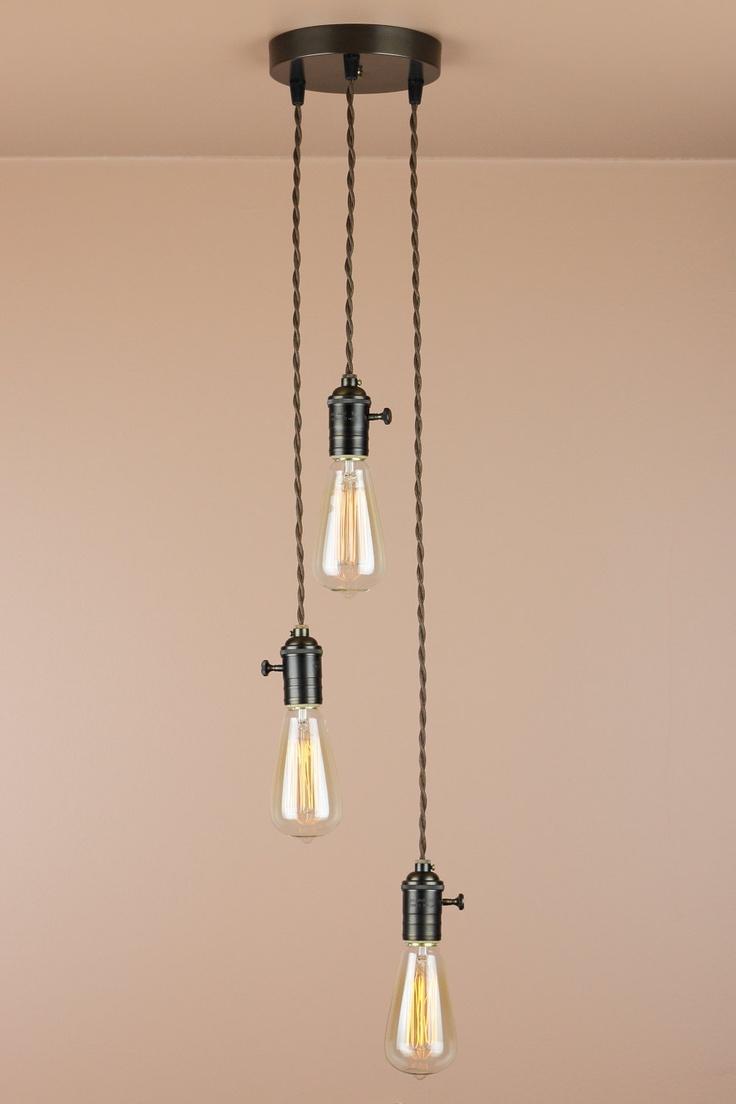 The 25 best edison light chandelier ideas on pinterest edison 3 light chandelier cascading pendant lights with edison light bulbs minimalist home decor arubaitofo Images