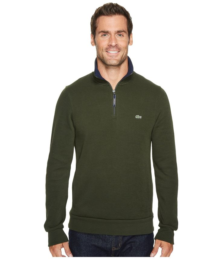 LACOSTE Rib Interlock 1/2 Zip. #lacoste #cloth #