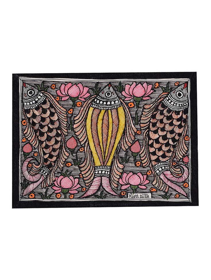 Buy Multicolor Fish Madhubani Painting 5.6in x 7.5in Handmade Paper Paint Art Decorative Online at Jaypore.com