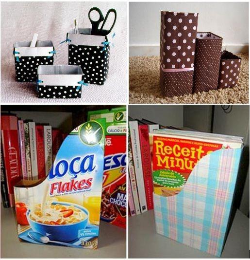 Faça você mesmo! Aproveitando embalagens para fazer um prático revisteiro.