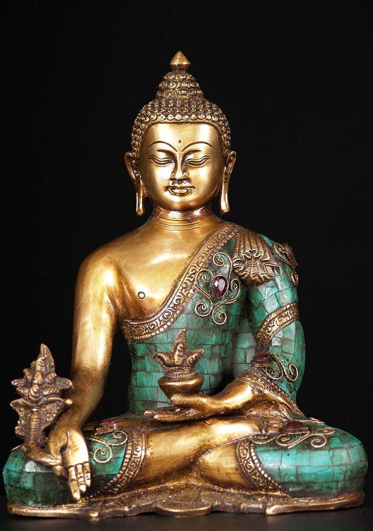 "Medicine Buddha Brass Statue with Stones 10"""