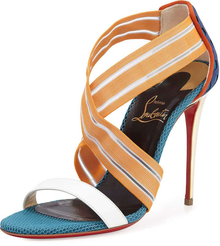 Christian Louboutin Elastigram Cross-Strap Red Sole Sandal ...