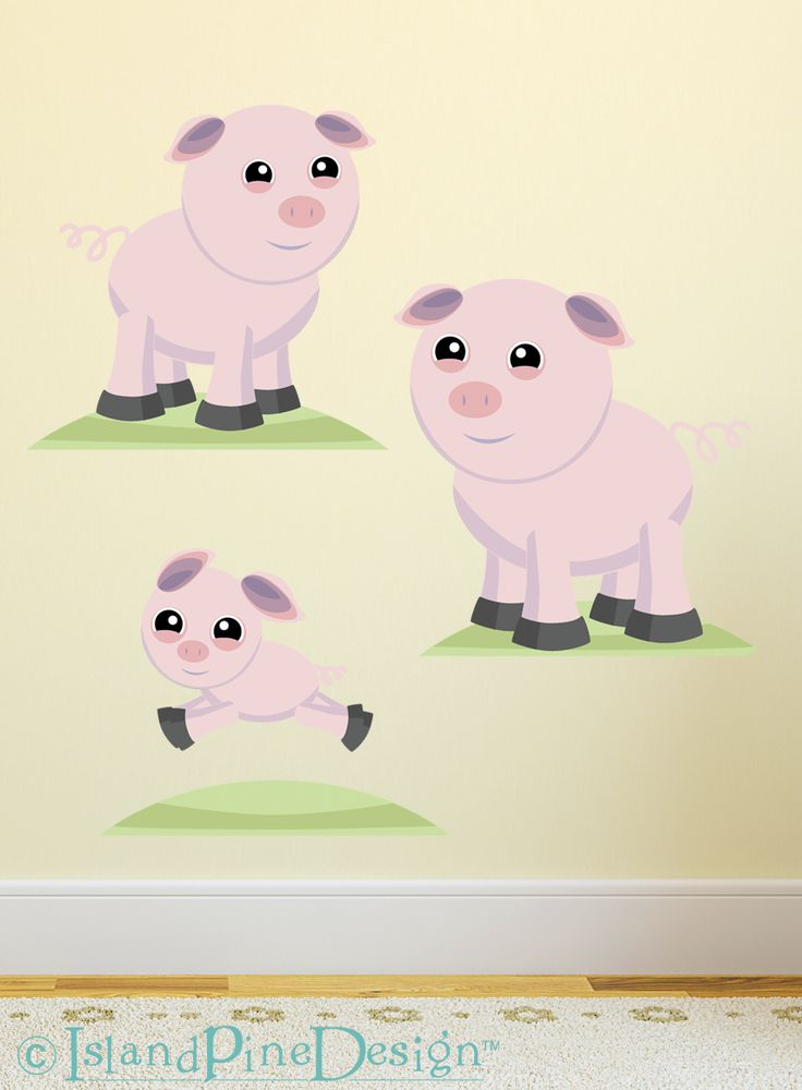 Pig Family | Non-toxic Posable Wall Art Decal Sticker Kit by Mixable Murals.  www.mixablemurals.com