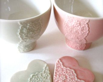 Shiny Pink Porcelain Lace Bowl with Heart Lace Cutlery by Hideminy
