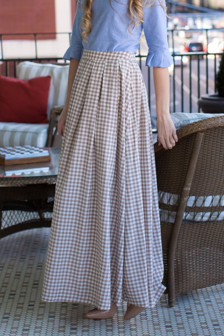 Modest taupe tan gingham check maxi skirt. Modest apparel, bridesmaid dresses, ruffles, and lace >>> www.daintyjewells.com