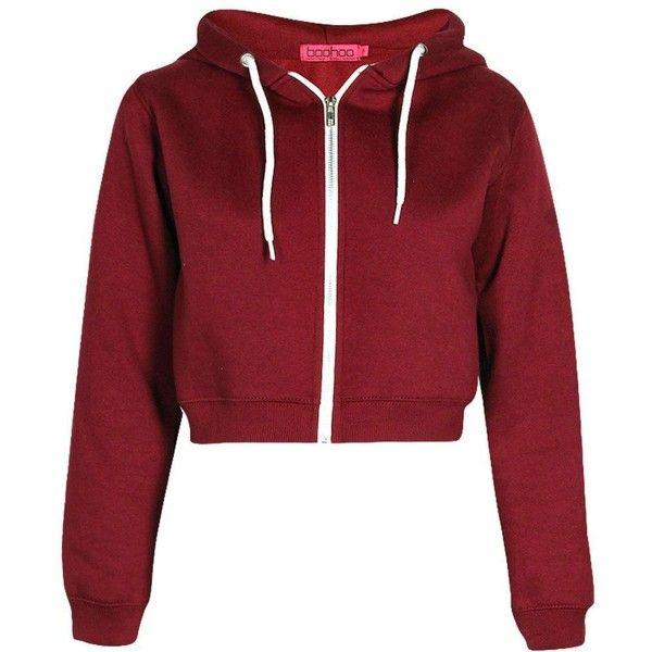 Lorraine Crop Hoody found on Polyvore featuring tops, hoodies, jackets, hooded sweatshirt, hoodie crop top, red crop top, crop top and red hoodie