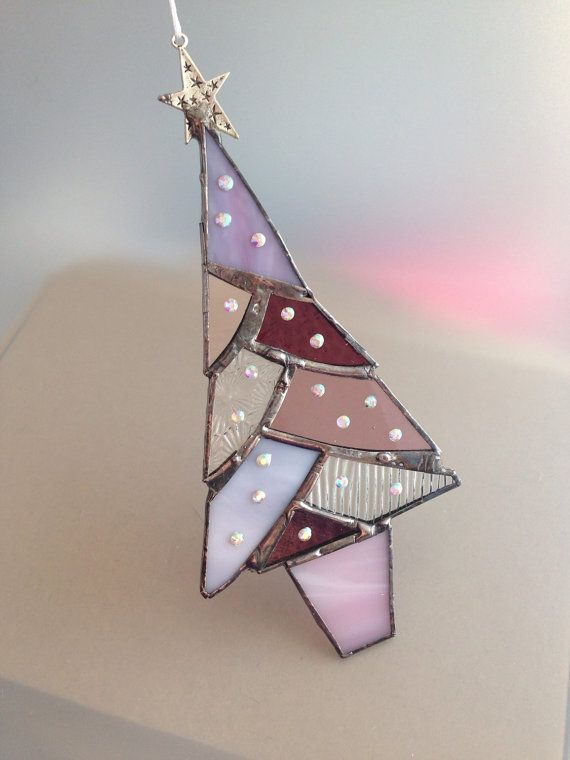 Purple stained glass christmas tree by Wendysglasshouse on Etsy