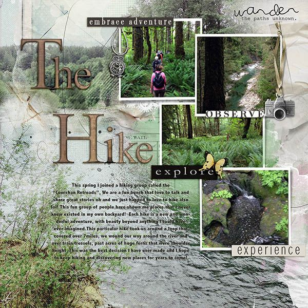 The Hike by taxd4ever, scrapbook layout with 5 photos, love the use of the large photo as the background