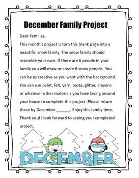 Monthly Family Take Home Projects – Ideas for school