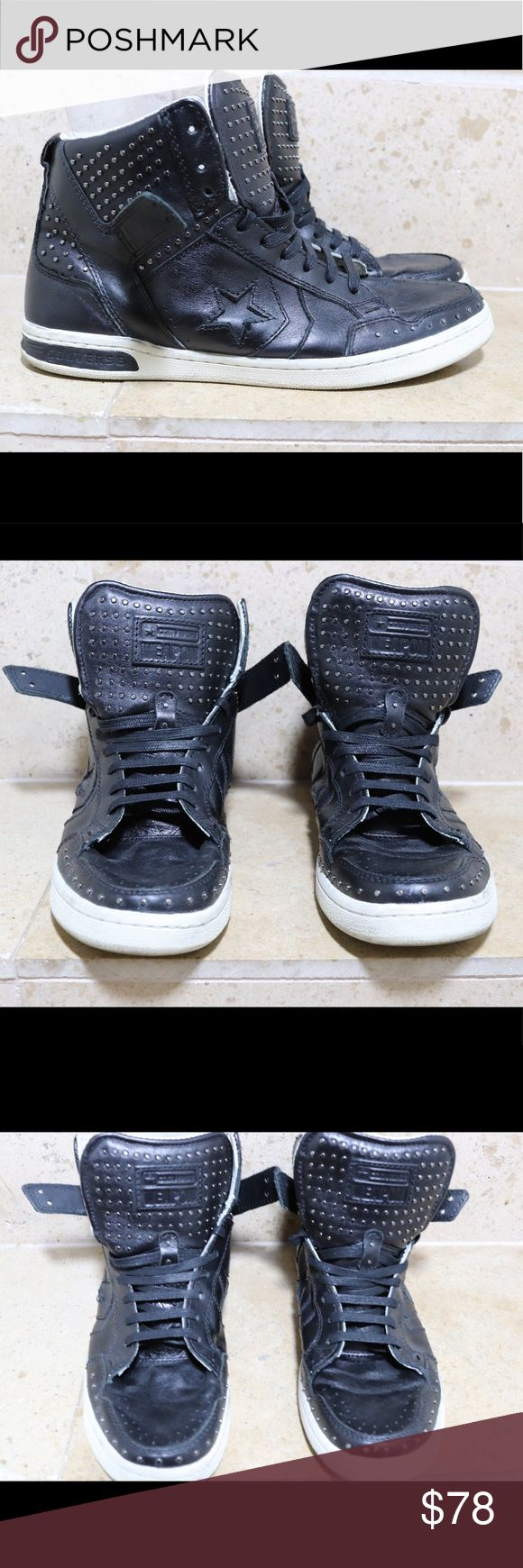 """John Varvatos x Converse Weapon Sold out ! Rare ! Super clean !   used only a handful of times , they are artificially made to look worn. Check out online """"The Shoe Game"""" and various sneaker websites for more info on this style .   *blue marks on inside of tongue from jean color transfer Men 9.5 Converse Shoes Sneakers"""