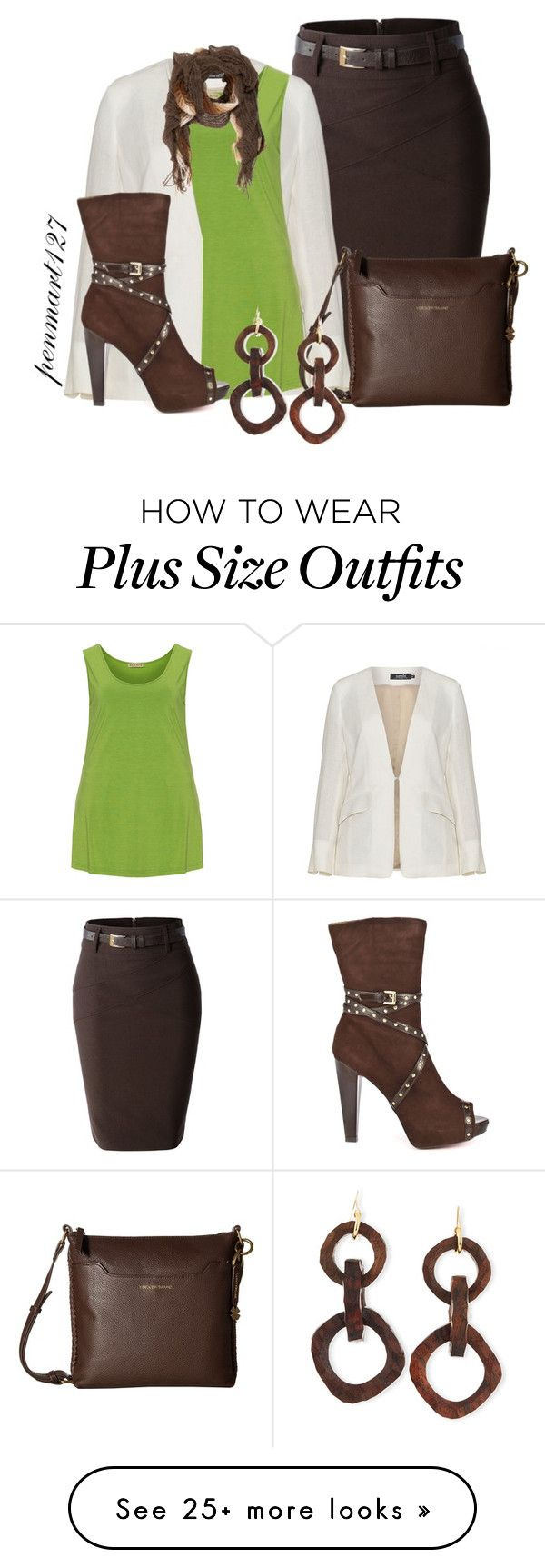"""""""Green White and Brown #Plussize"""" by penny-martin on Polyvore featuring LE3NO, navabi, Isolde Roth, Lucky Brand, Paris Hilton, Missoni and NEST Jewelry"""