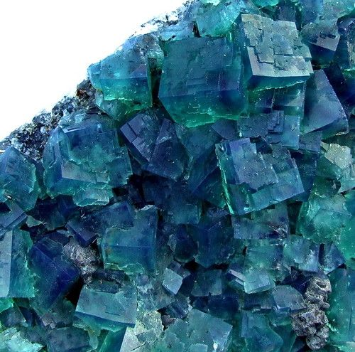 Blue-Green Fluorite Crystals, Rogerly Mine, UK. Dimensions: 15.5 x 12 x 7 cm (2.5 cm = 1 inch) x