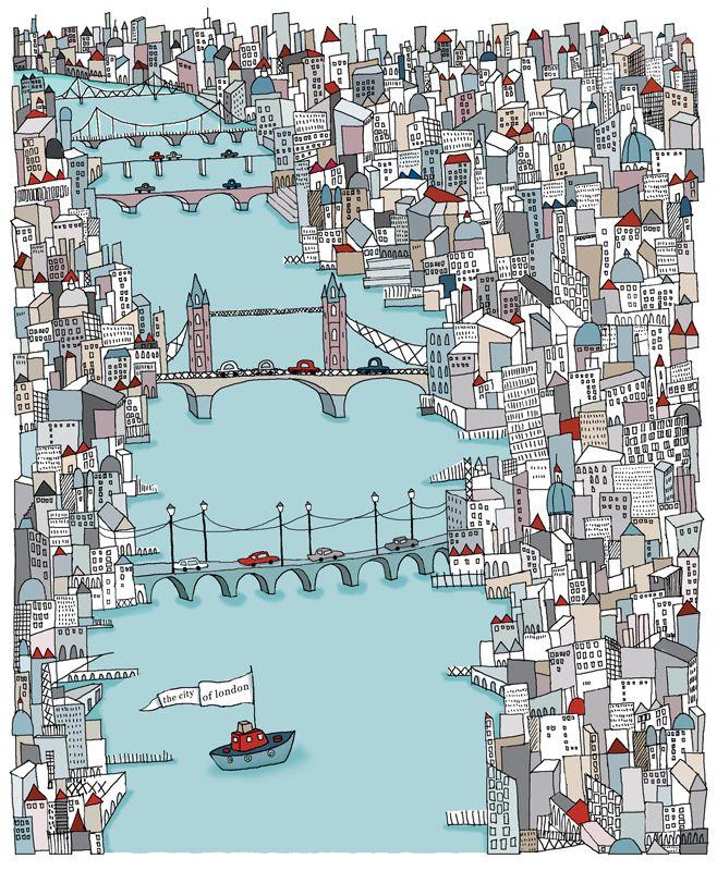 #emmabrownjohn #newdivision #illustration #digital #line #stylised #london #city #river #bridges #urban #boat