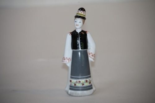 Hollohaza Kezzel Festett Figure Male Boy Long Apron Hat #4834B Hungary Porcelai