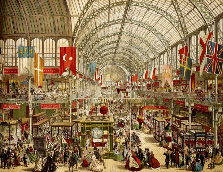 Colour illustration of The Great Exhibition at Crystal Palace, 1851