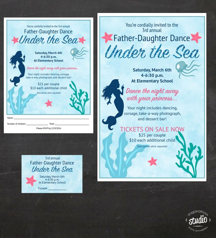 Under the Sea - Daddy-Daughter Dance (Father and Daughter) - Event Custom Printable Package - flyer, tickets and poster by jjinspirationstudio on Etsy https://www.etsy.com/listing/263552145/under-the-sea-daddy-daughter-dance