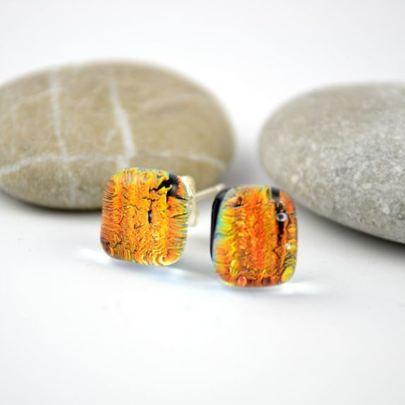 Øredobber av dichroic glass i oransje Jewelry