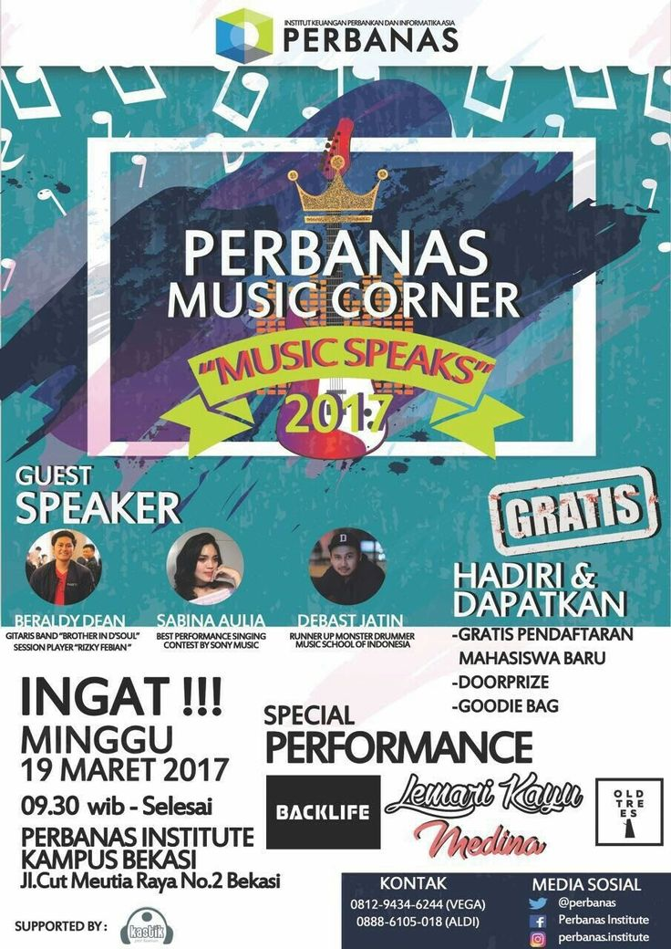 "PERBANAS MUSIC CORNER🎉           🎧MUSIC SPEAKS🎧  🎫FREE!!! 📆Minggu, 19 Maret 2017 🕰09.30 - Selesai 📍Perbanas Institute Kampus Bekasi      (Jl. Cut Mutia Raya No. 2, Sepanjang       Jaya, Rawa Lumbu, Kota Bekasi)  Akan diadakan SHARING and JAM SESSION bersama : 1. 🎸Beraldy Dean => Session Player ""Rizky Febian""  2. 🎤Sabina Aulia => Best Performance Singing Contest by Sony Music 3. 🥁Debast Jatin => Runner up Monster Drummer Music School of Indonesia.  Bagi yang sudah mengikuti SHARING…"