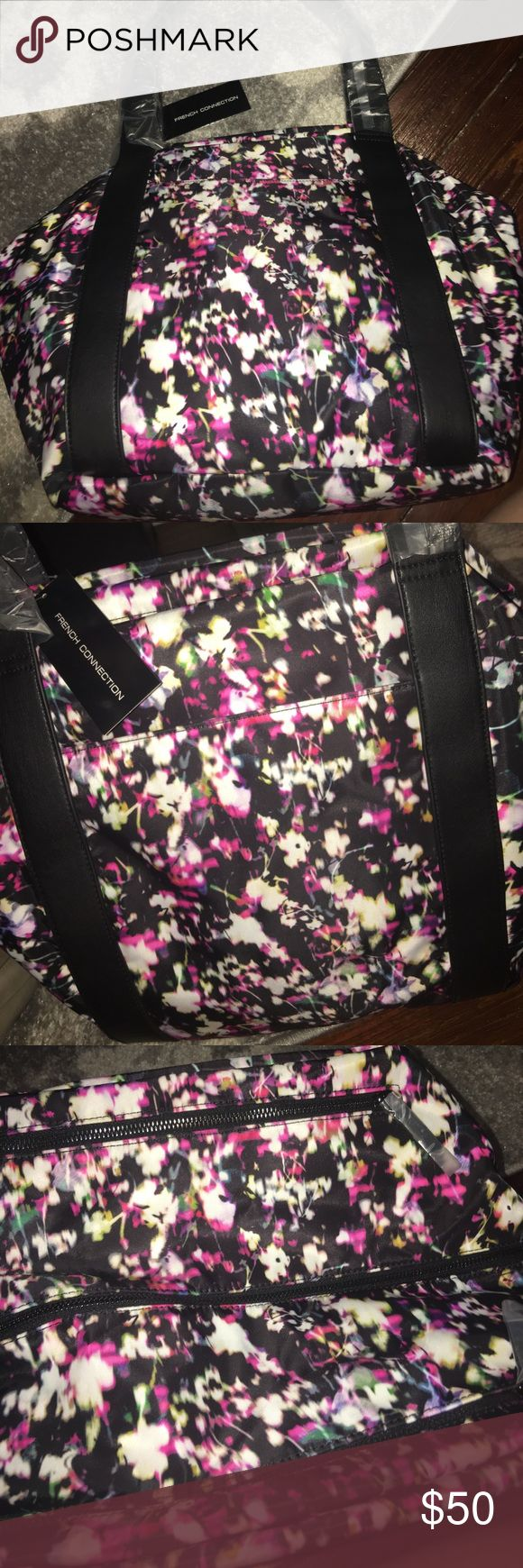 "Gorgeous tote, super roomy! Gorgeous midnight blossom print, NWT, 16"" wide and about 12"" deep. Tons of storage room in this tote, could be used for school, work, the gym, as a diaper bag or more! French Connection Bags Totes"