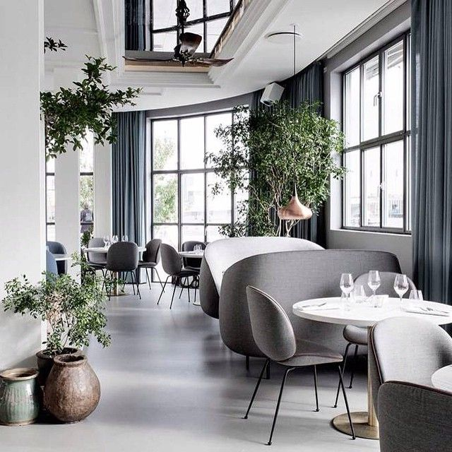"""""""We are rather fond of this restaurant installation """"The Standard"""" in Copenhagen, designed by the highly acclaimed Danish-Italian design duo Gam Fratesi. The install also features the new Beetle chair of which they designed for Gubi recently. We can also spot the copper Light Years Orient pendant contrasting beautifully against the muted blues and greys. #thestandard #gamfratesi #gubi #beetlechair #danishdesign #interiors #interiordesign"""" Photo taken by @designfarm_perth on Instagram…"""