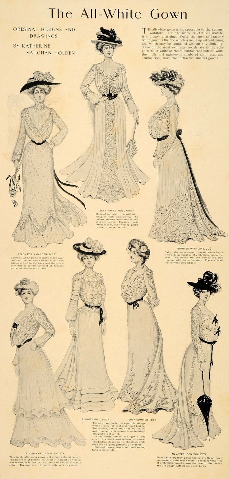 1901 ad for Summer all-white gowns.