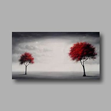Hand-Painted+Oil+Painting+on+Canvas+Wall+Art+Abstract+Contempory+Trees+Clouds+Grey+One+Panel+Ready+to+Hang+–+USD+$+58.64