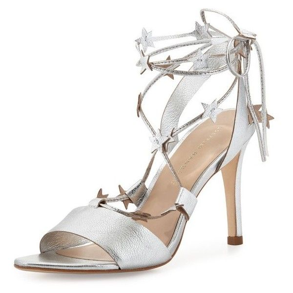 Loeffler Randall Arielle Strappy Stars Sandal, Silver ($325) ❤ liked on Polyvore featuring shoes, sandals, silver, silver metallic sandals, metallic strappy sandals, toe-loop sandals, criss-cross sandals and ankle strap sandals