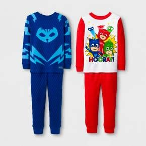 Make bedtime a little easier with this 4-piece PJ Masks Pajama Set. With two pairs of jammies featuring his favorite kid superheroes, he'll actually want to get ready for bed! Catboy, Owlette and Gekko cheer out from the top of one set, while Catboy's emblem takes front and center on the other. Made of 100% cotton, these soft PJs will breathe throughout the night while keeping him comfy-cozy at the same time, whether he's snoozing soundly or fighting crime with the PJ Masks gang.