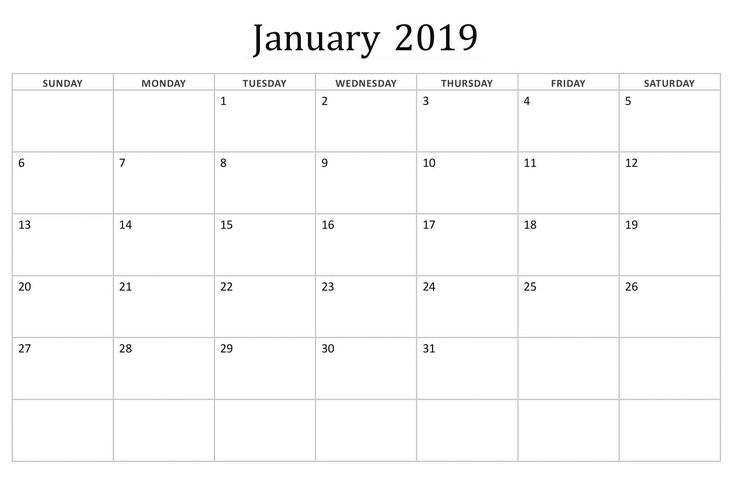january 2019 Editable Basic Calendar Calendar Designs Calendar