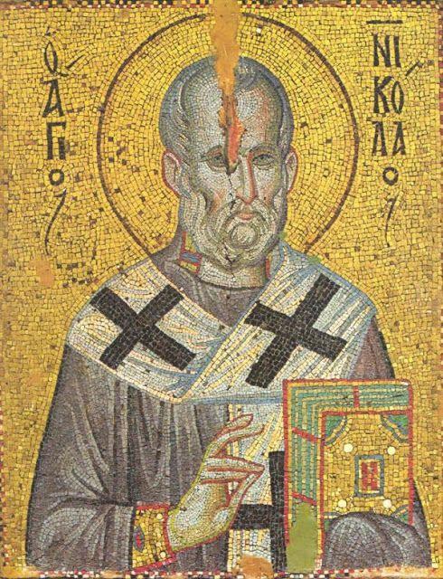 St Nicholas. Mosaic icon. Late 13th c. Stavronikita monastery, Mt Athos, Greece.