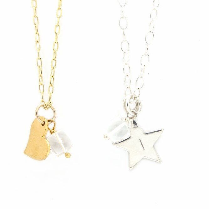 The personalised birthstone collection comes in sterling silver or gold filled with three charms to choose from that can be hand stamped. Add a cute faceted cube shaped birthstone for a little sparkle 💫. Clear Quartz is the birthstone for April.