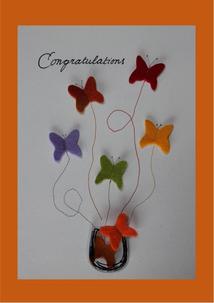 Verjaardagskaart met vilten vlinders