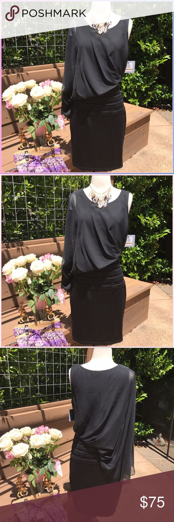 Andrew Marc Brand new sleek LBD, this NY runway piece is divine for special events. It's bell of the bell, Cinderella and the glass slipper!. Smooth, sultry & simply marvelous!. Nylon & spandex! Offer in don't pass it up- Andrew Marc Dresses
