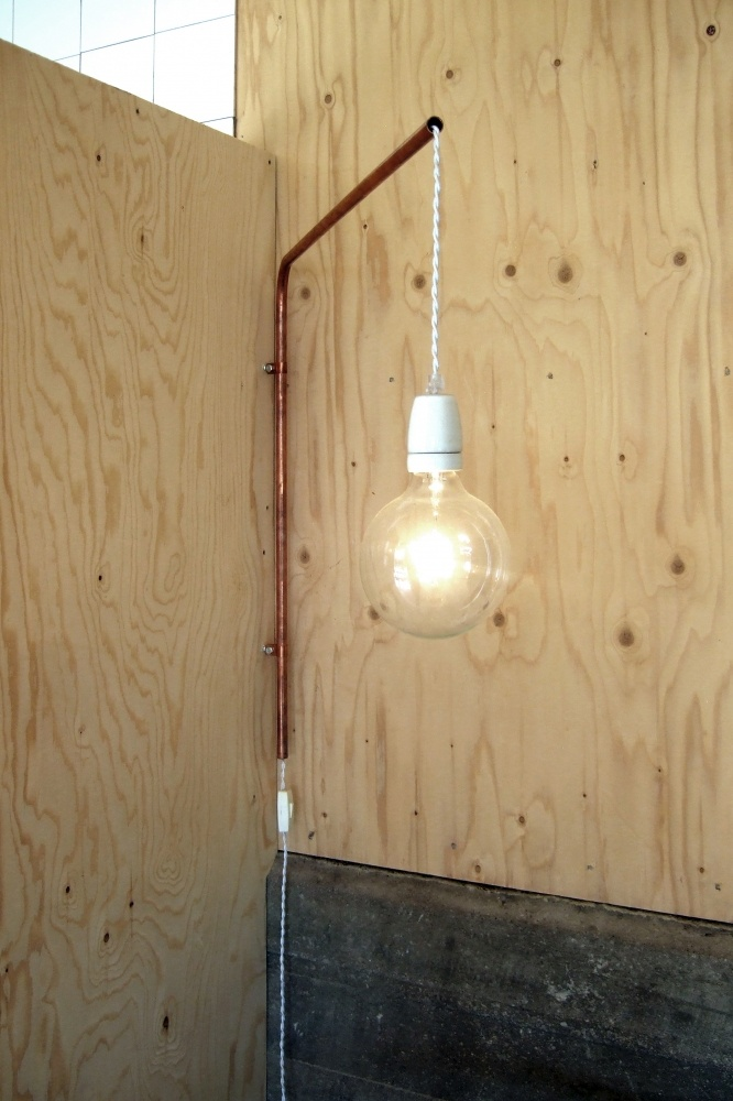 Make your own lamp from a porcelain socket and textile cord (and a copper tube):