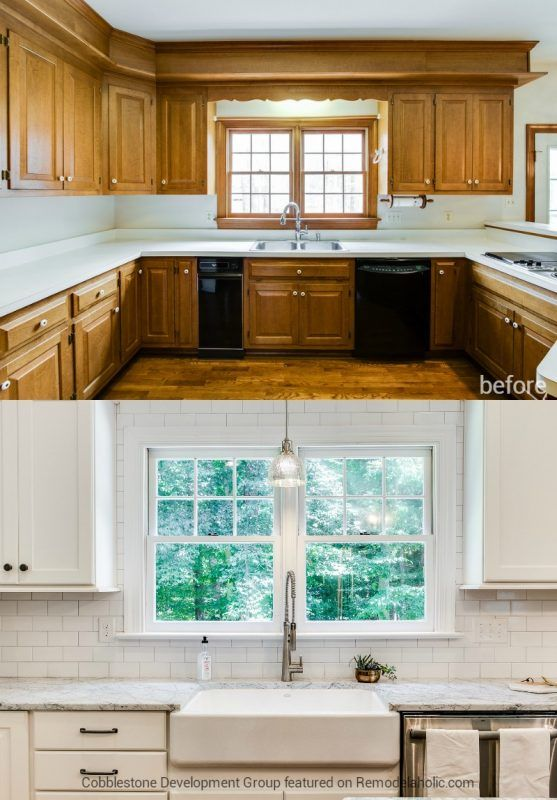 1980's Kitchen Update with Subway Tile and Farmhouse Sink, Fendall Home Renovation, Cobblestone Development Group featured on @Remodelaholic