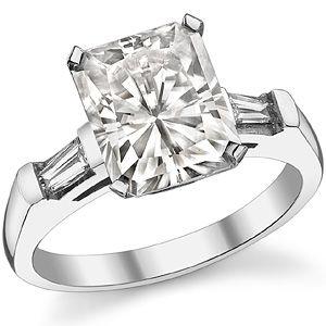 Radiant & Baguette Moissanite Engagement Ring