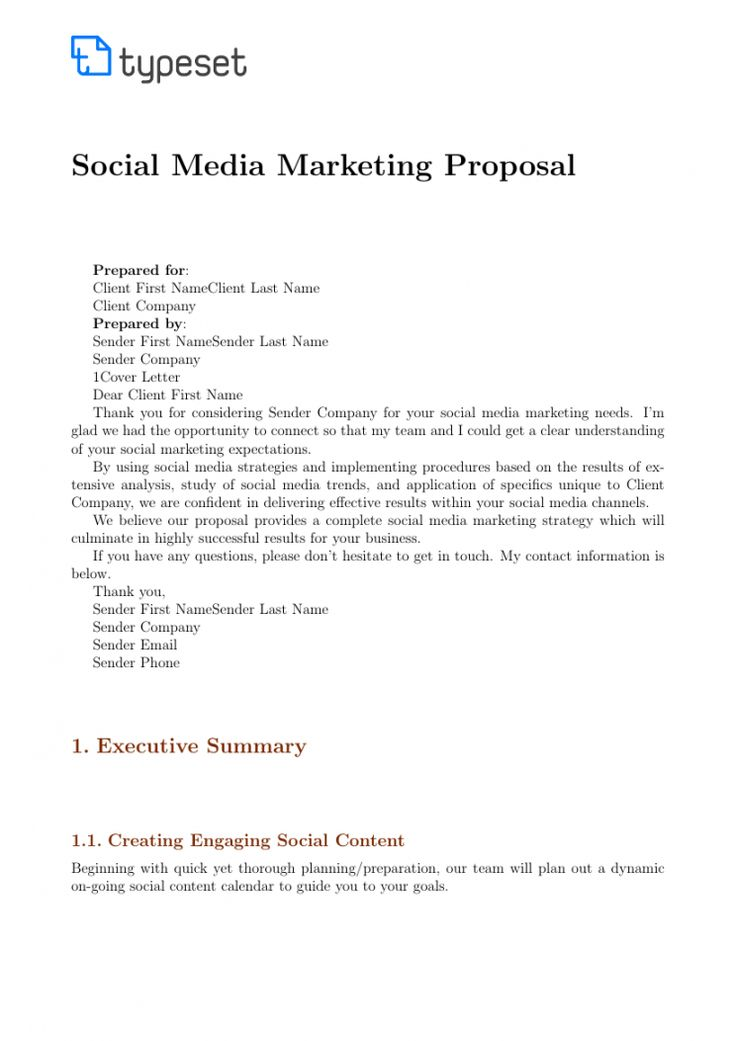 Social Media Management Proposal Template in 2020
