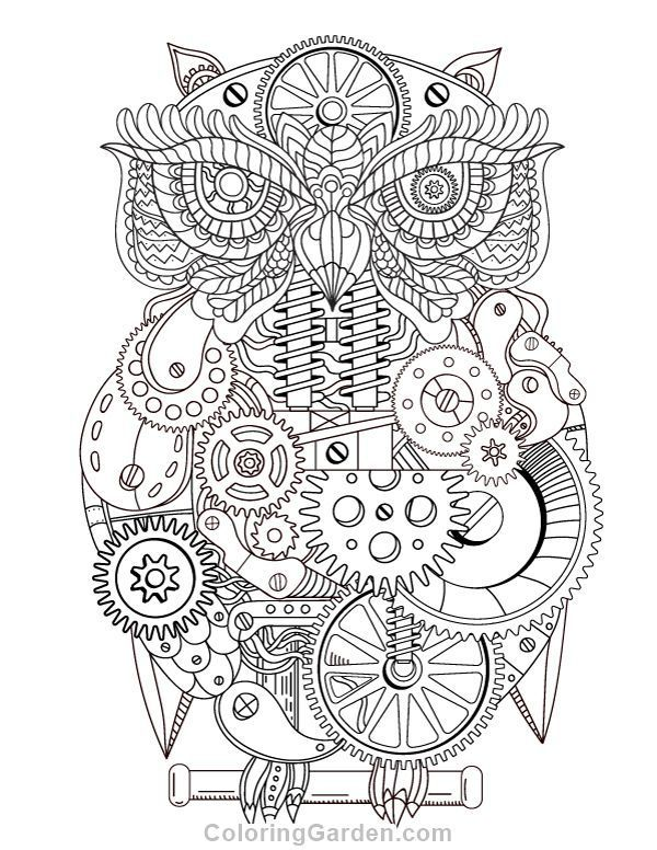 Free printable steampunk owl adult coloring page. Download