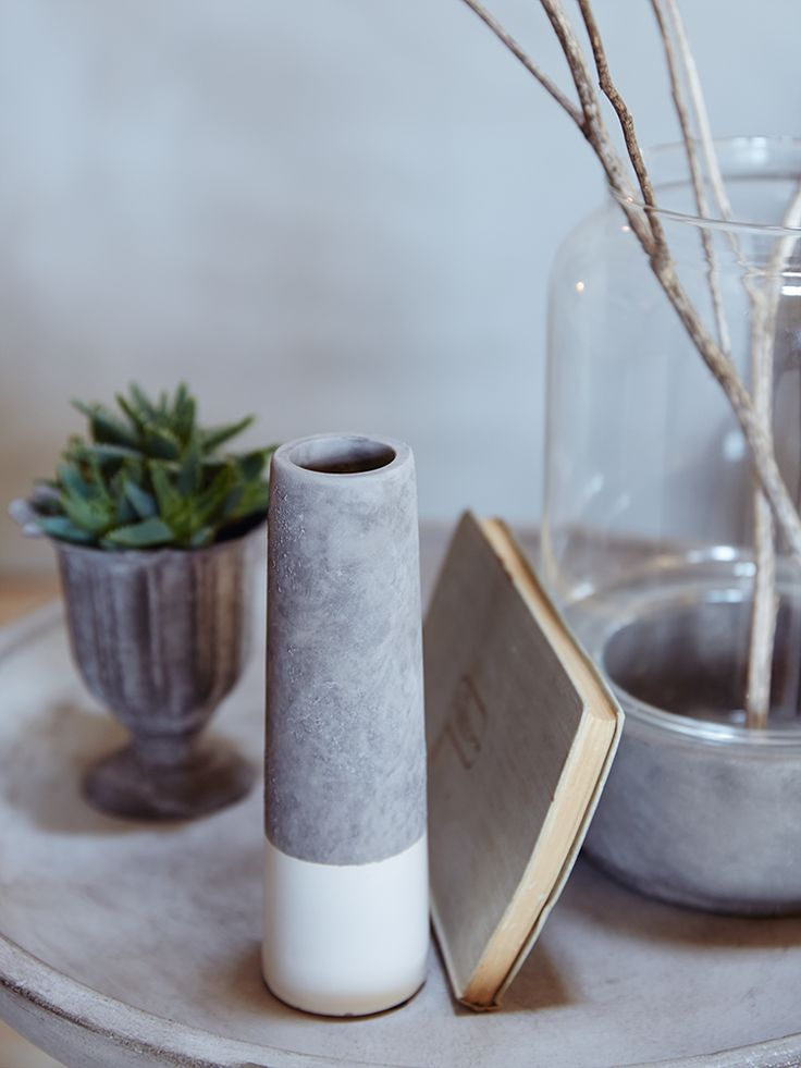 Dipped Concrete Vase - White - Decorative Home - Indoor Living